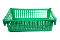 Green basket on white Stock Photos