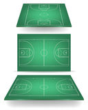 Green basketball court with perspective Stock Photos