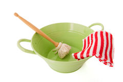 Green bassin for washing dishes Stock Photos