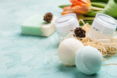 Green bath bomb and soap with SPA products Stock Photography