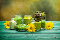 Green bath salt Stock Image