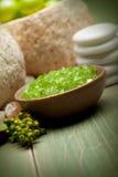 Green bath salt Stock Photos