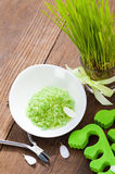 Green bath salt and pedicure tools Royalty Free Stock Image