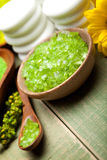 Green bath salt for Spa Royalty Free Stock Photo