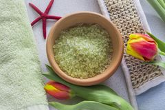 Green bath salts in a bowl and Spa facilities for relaxation royalty free stock image