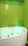 Green bathroom. Modern interior green bathroom with a jacuzzi stock image