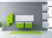 Green bathroom. Minimalist green and gray modern bathroom - rendering Stock Photos