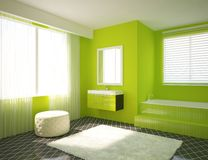 Green bathroom Stock Image