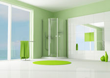 Green bathroom with cabin shower Royalty Free Stock Images