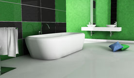 Green Bathroom Contemporary Design. Contemporary bathroom with modern design and furniture, colored in green, black and white, 3d rendering Stock Photos