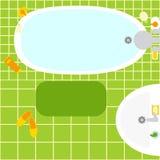 Green bathroom interior Stock Photo
