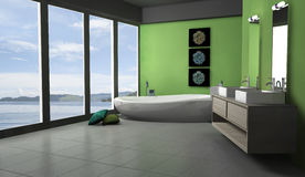 Green Bathroom Lakeview. Green bathroom with modern and contemporary design and furniture with lake view, 3d rendering Royalty Free Stock Photo