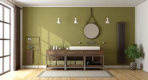 Green bathroom with washbasin. Radiator and large window - 3d rendering Royalty Free Stock Images