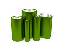 Green Batteries. A render of a group of different batteries Royalty Free Stock Photography
