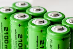 Green Batteries. Close up of 8 green Batteries Royalty Free Stock Image