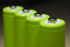 Green batteries Stock Image