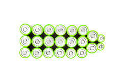 Green batteries. Green color with ordinary batteries Royalty Free Stock Photography