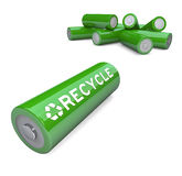 Green Batteries - Recycling Symbol on AA Battery. Several green AA batteries with the word Recycle and symbol vector illustration