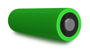 Green battery. Green AA battery on white background stock illustration