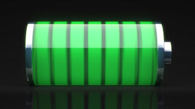 Green battery charged Stock Images