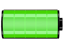 Green Battery 3d icon Status Full. On white Royalty Free Stock Photography