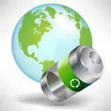 Green battery with earth globe Stock Image