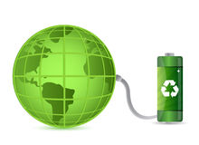 Green battery with earth globe isolated Stock Images
