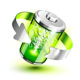 Green battery full level indicator Stock Photo