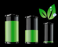 Green Battery and Green leaf with drops of water Stock Image