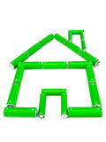 Green battery house. Green rechargeable battery eco house on white Stock Photography
