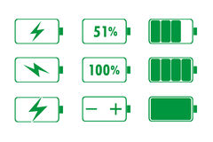 Green Battery Indicator Icons. Vector illustration Royalty Free Stock Images