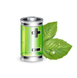 Green battery with leaves isolated on white Royalty Free Stock Image