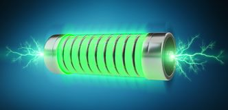Green battery with lightnings 3D rendering. Green battery with lightnings on blue background 3D rendering Stock Images