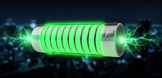 Green battery with lightnings 3D rendering. Green battery with lightnings on blue city background 3D rendering Stock Photos