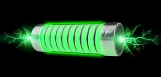 Green battery with lightnings 3D rendering. Green battery with lightnings on black background 3D rendering Stock Photos
