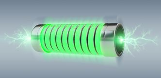 Green battery with lightnings 3D rendering. Green battery with lightnings on grey background 3D rendering Royalty Free Stock Photo