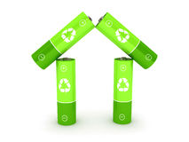 Green battery over white background Stock Image