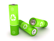 Green battery over white background Stock Photos