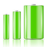 Green battery range. Green battery set, three sizes: AAA, AA, D. Ready for your design. Vector illustration Royalty Free Stock Image