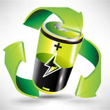 Green battery recycling concept vector illustration