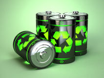 Green battery recycling concept. Stock Image