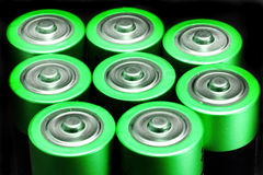 Green battery tops Royalty Free Stock Photos