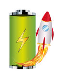 Green battery with toy rocket boost up Stock Photo