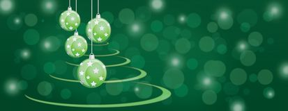 Green bauble balls christmas panorama background Stock Images
