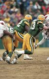 Jeff Thomason, Green Bay Packers. Green Bay Packers TE Jeff Thomason 83 protecting Brett Favre. Image taken from color slide stock photography