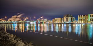 Green bay wisconsin city skyline at night stock photo