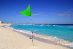 Green beach flag good beach weather Stock Image