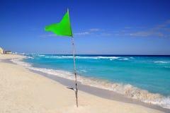Green beach flag good beach weather. Beautiful Green beach flag good beach weather stock image
