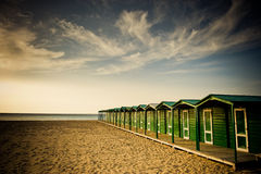 Green beach huts Royalty Free Stock Images