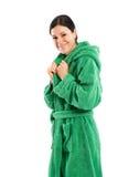 In green beach robe royalty free stock photos